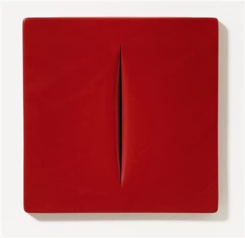 Lucio Fontana, Concetto Spaziale (Rosso), 1968.