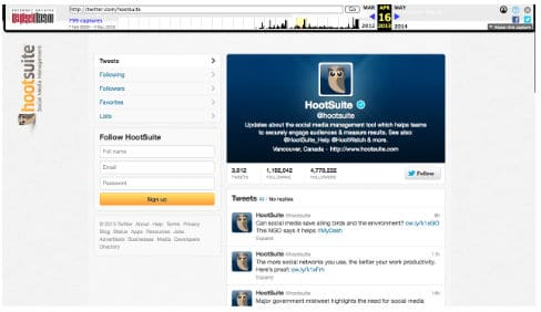 Wayback screenshot of the Twitter page