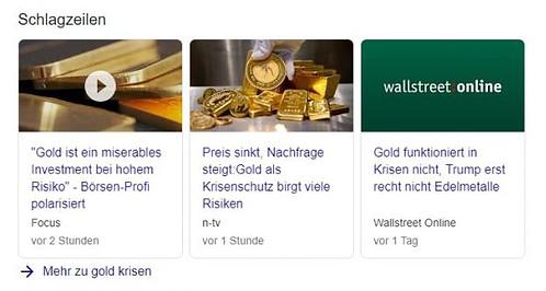 Gold, Schlagzeilen