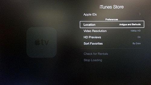 Menu iTunes Store Apple TV con Location evidenziato.