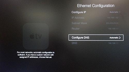 Menu Ethernet Configuration Apple TV con Configure DNS evidenziato.