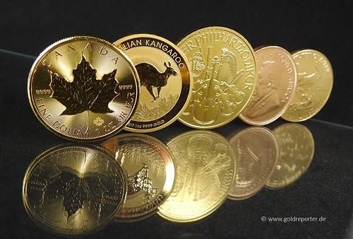 Gold, Goldmünzen, Krügerrand, Maple Leaf (Foto: Goldreporter)