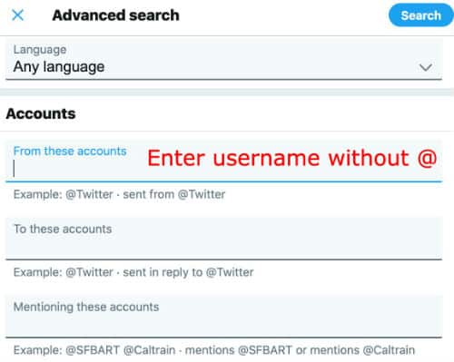 """search old tweets Fields under the """"Account"""" subheading"""""""