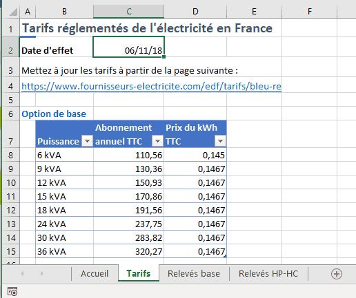 Excel Srtucture classeur suivi conso elec