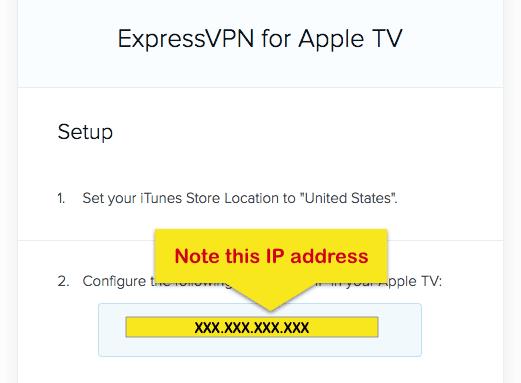 Schermata setup Apple TV ExpressVPN con IP address evidenziato.