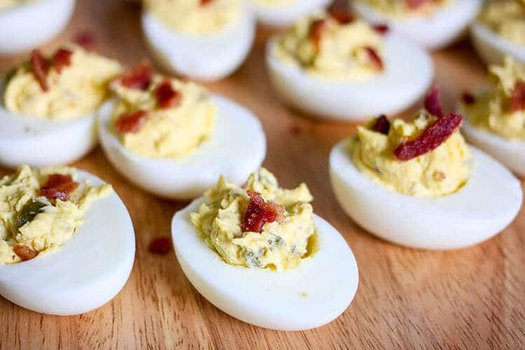 Deviled Eggs with Jalapenos and Bacon