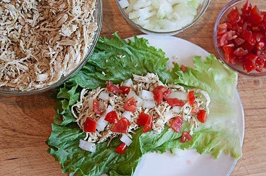Shredded Chicken Greek Lettuce Wraps