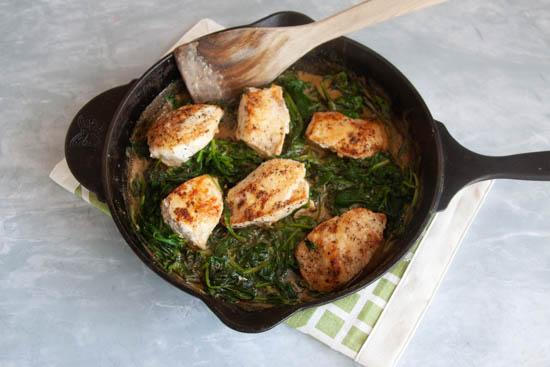 Creamy Chicken & Spinach Skillet on gray counter