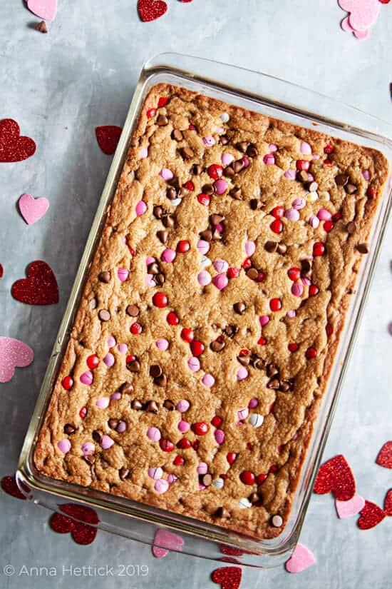 Chocolate Chip M&M Valentine's Day Cookie Bars