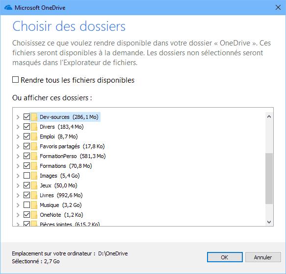Choisir les dossiers de OneDrive à synchroniser