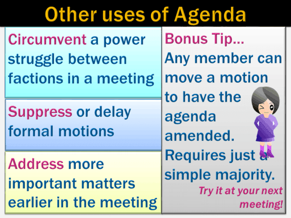 image showing other uses of meeting agenda and bonus tip