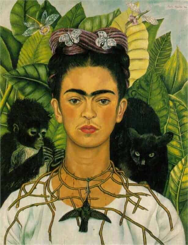 Frida Kahlo - Self-Portrait with Thorn Necklace and Hummingbird - 1940