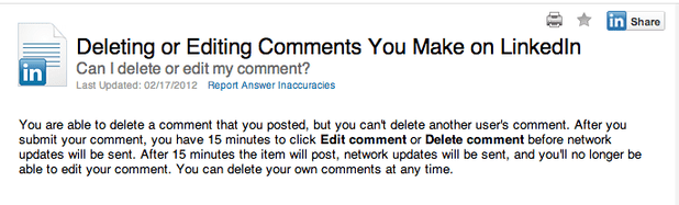 Edit Your Comments on LinkedIn