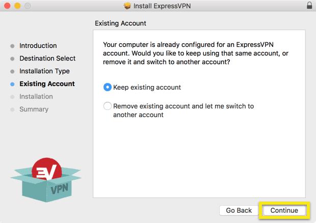 Bestaand account scherm met Doorgaan-knop gemarkeerd.