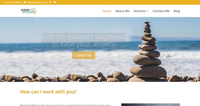 Screen shot of a home page for ease anxiety