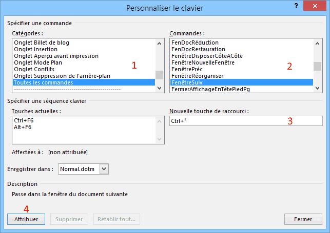 Créer un raccourci clavier dans Word