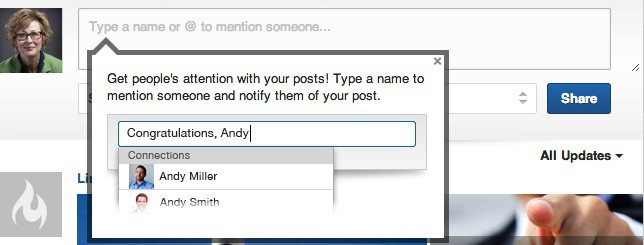 LinkedIn Mentions in your Status Update Area