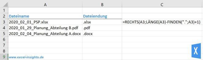 Excel Insights: RECHTS, LÄNGE und FINDEN