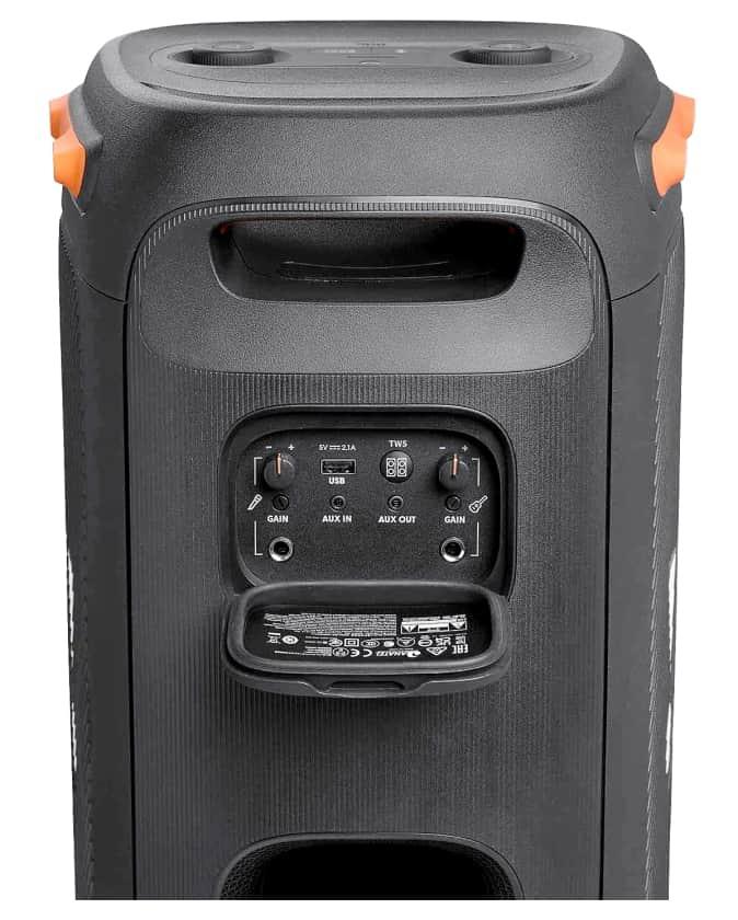 Conexiones del altavoz JBL PartyBox 110