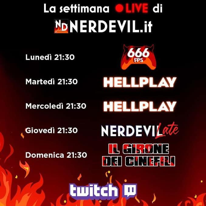 nerdevil live calendario