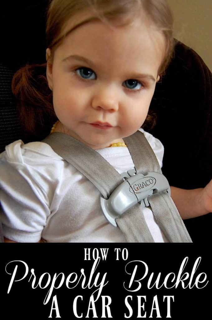 Learn how to properly buckle a car seat so that you can keep your little one safe while on the road. #carseat #carseatsafety #roadsafety #kids #babies