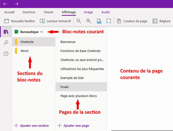 bloc-notes, sections et pages dans OneNote pour Windows 10