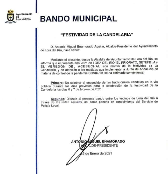 Bando Municipal suspendiendo las candelas