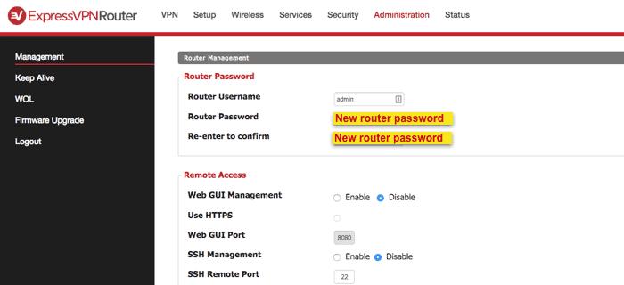 dd-wrt new router password