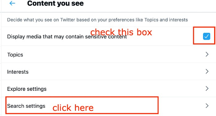 uncheck disable media that may contain sensitive content box