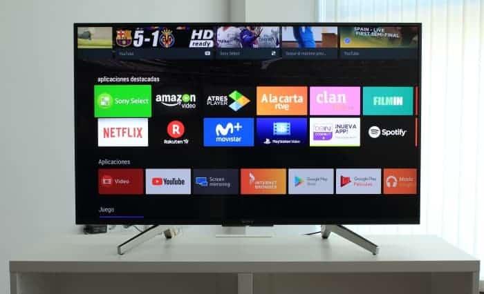 Menú de aplicaciones Android TV Sony XF8596
