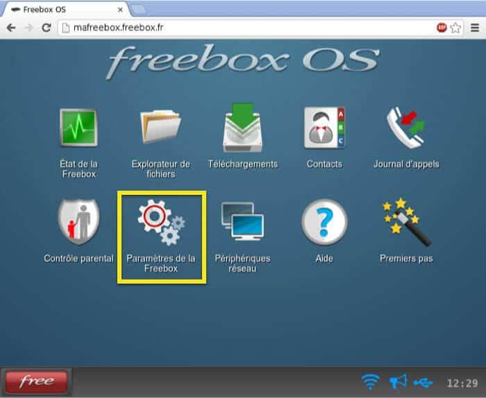 Click on Paramètres de la Freebox.