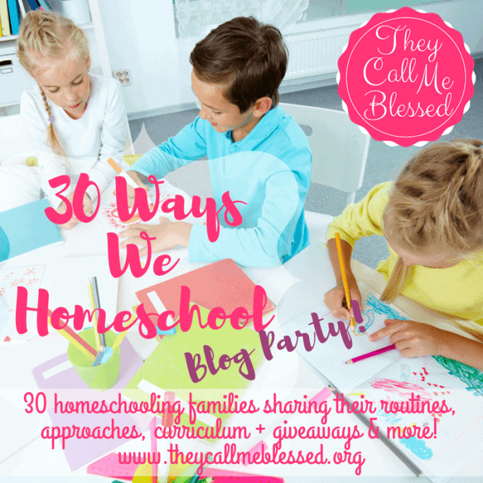 I am beyond excited to tell you about the homeschooling event of the summer, 30 Ways We Homeschool Blog Party & Giveaway! This is going to be EPIC! Yep, my sweet friend Ana Willis of TheyCallMeBlessed.org is having another party!