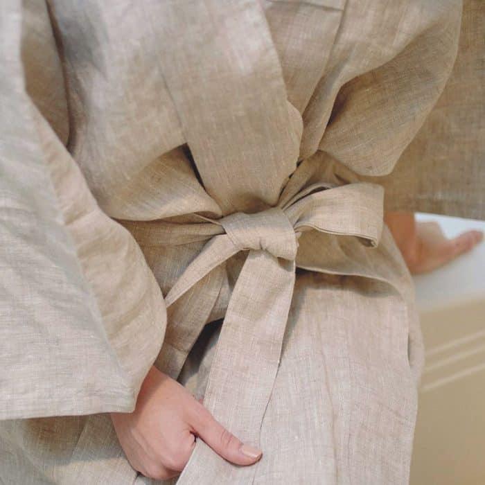 linen robe, pure linen, robe