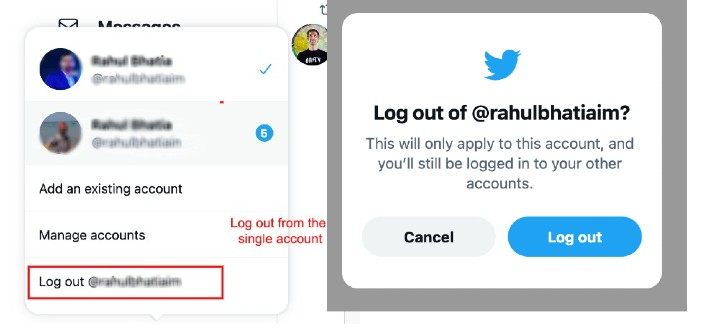 Log out from the single account