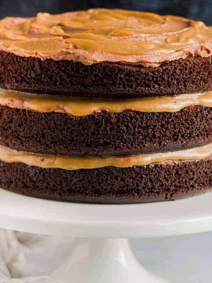 A three layer chocolate salted caramel cake.
