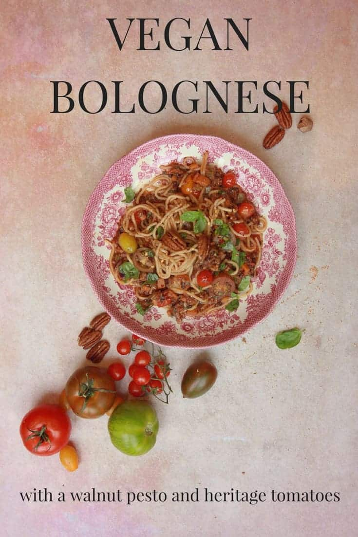 How to make a hearty and wholesome vegan bolognese using a variety of heritage tomatoes, with a walnut and basil pesto with nutmeg.