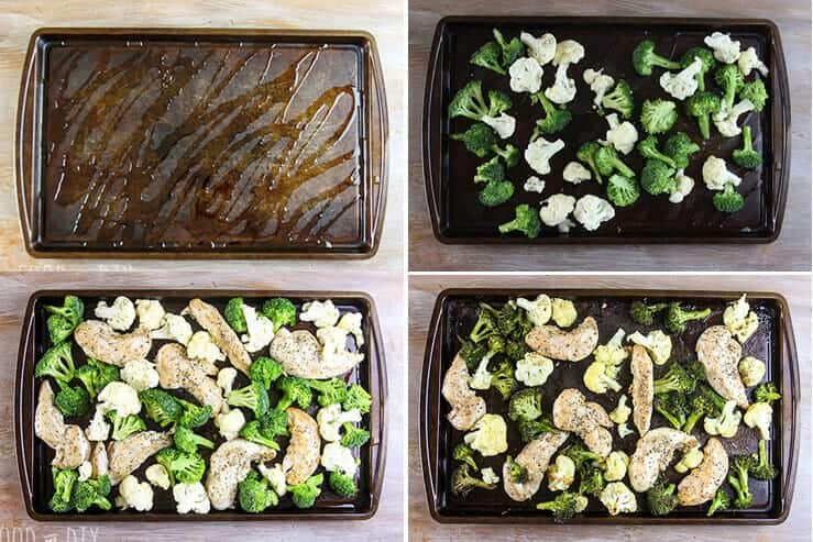 Cookie sheet, broccoli, cauliflower, chicken tenders