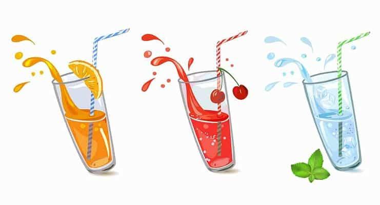 three glasses of juice