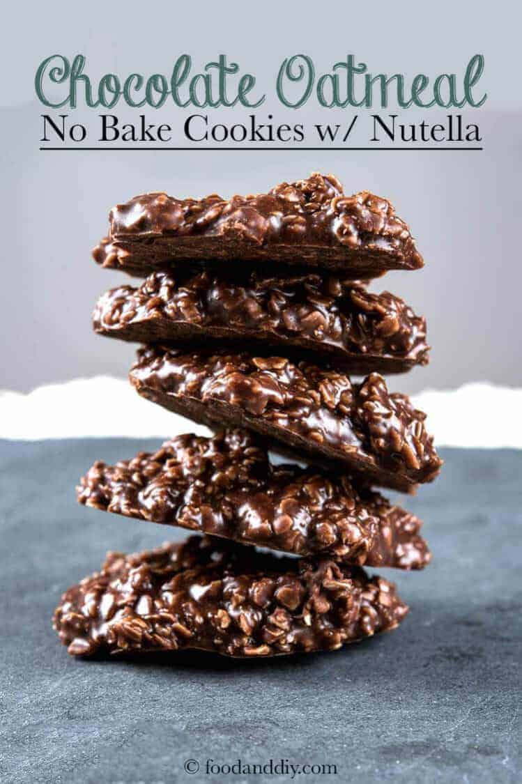 The BEST Chocolate Oatmeal No Bake Cookies with Nutella