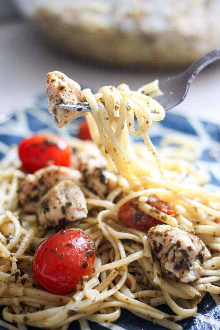 Chicken Pesto Linguine with Grape Tomatoes