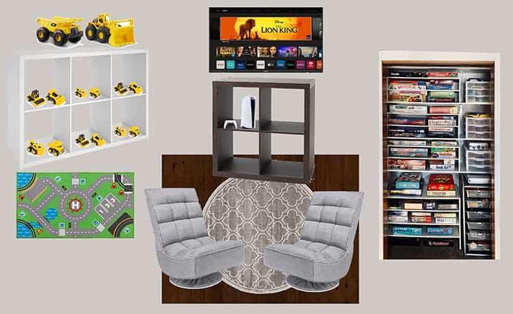 fixer upper farmhouse game room mood board