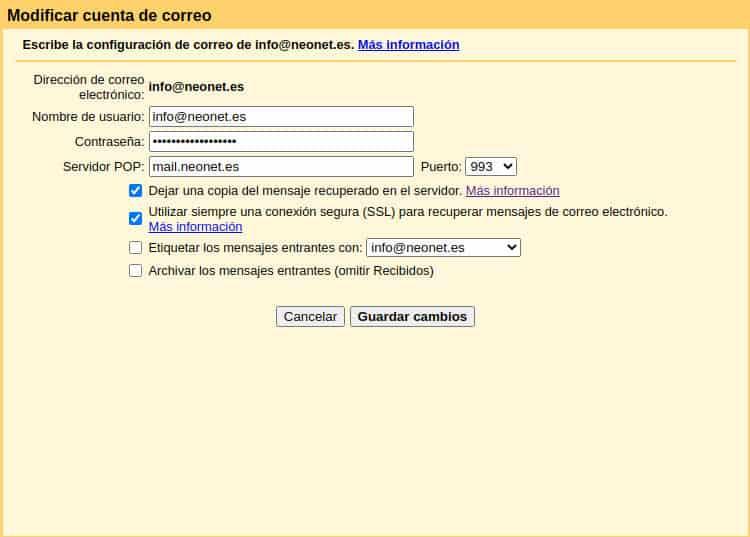 Modificar la seguridad de comunicación entre Gmail y servidor