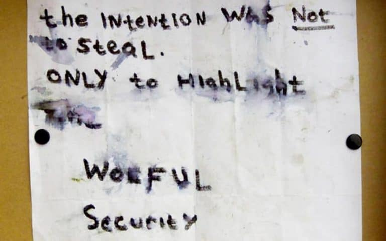 The note left by the thieves after the heist from Whitworth Art Gallery, 2003.