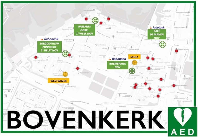 Plattegrond Bovenkerk met AED's