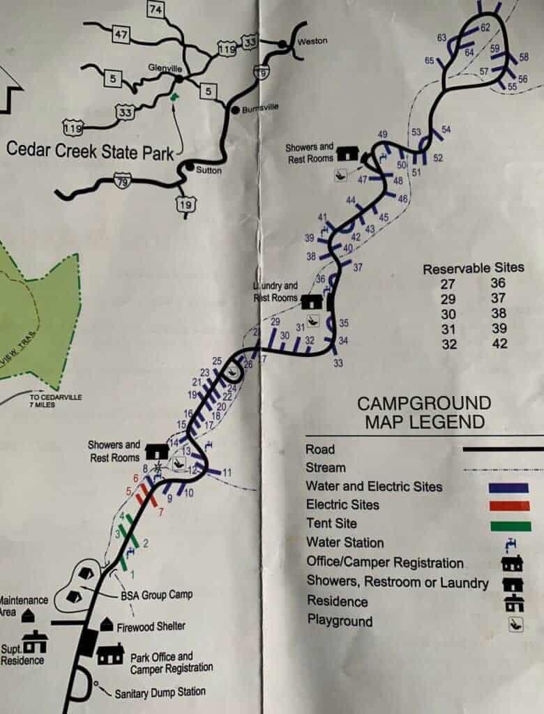 cedar creek park wv campground map