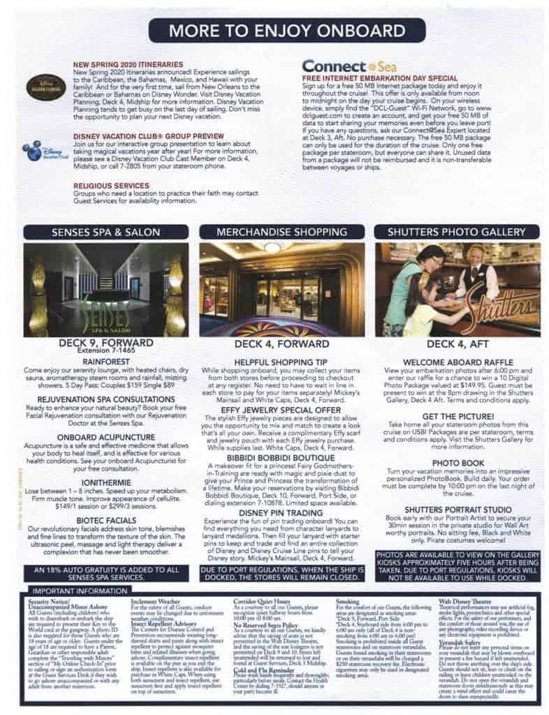 4th Page February 2, 2020 Navigator Disney Wonder San Juan to New Orleans