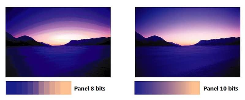 Panel 10 bits vs. panel 8 bits