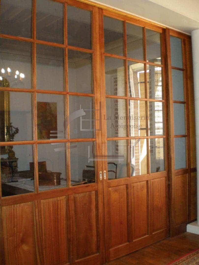 Porte d'intérieur vitrée en bois
