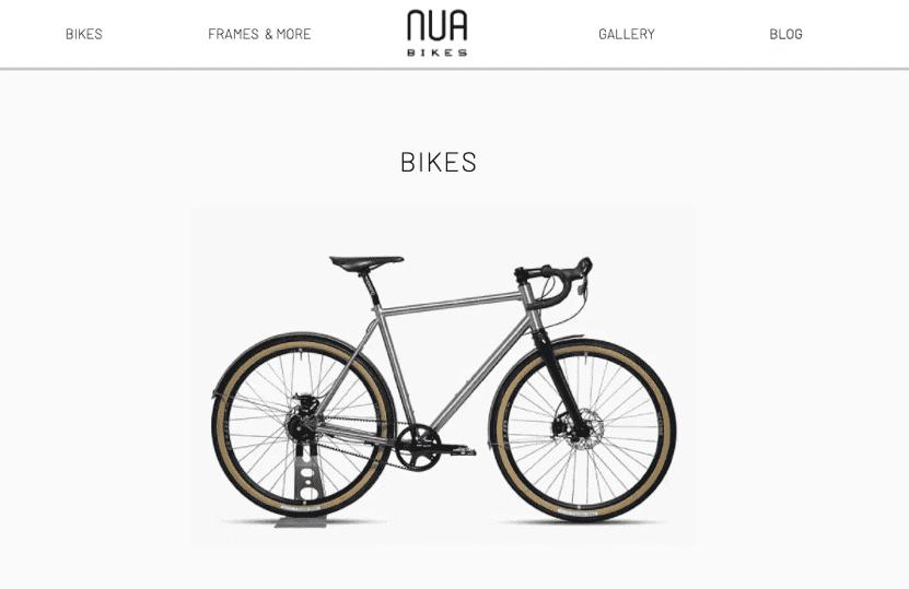Nua Bikes Minimalist Website