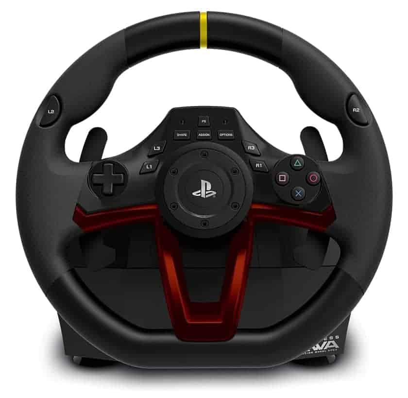 Botonera con controles para PS5 en volante de carreras